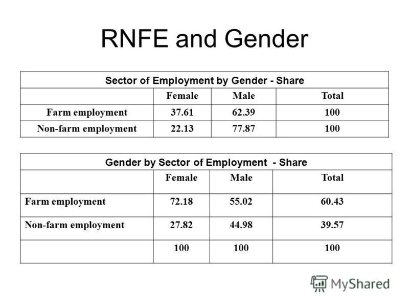 RNFE and Gender Sector of Employment by Gender - Share FemaleMaleTotal Farm employment37.6162.39100 Non-farm employment22.1377.87100 Gender by Sector of Employment - Share FemaleMaleTotal Farm employment72.1855.0260.43 Non-farm employment27.8244.9839