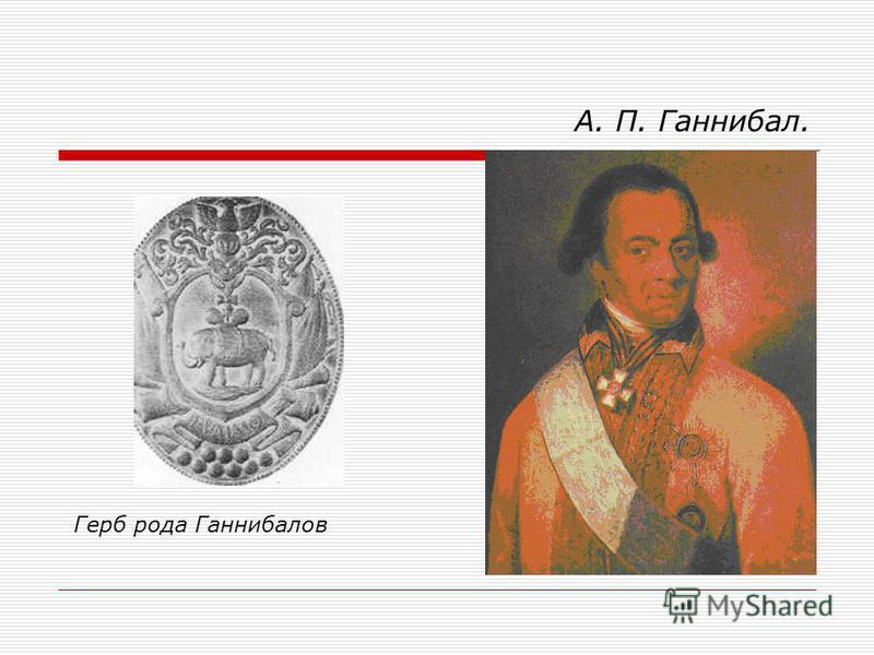 А. П. Ганнибал. Герб рода Ганнибалов