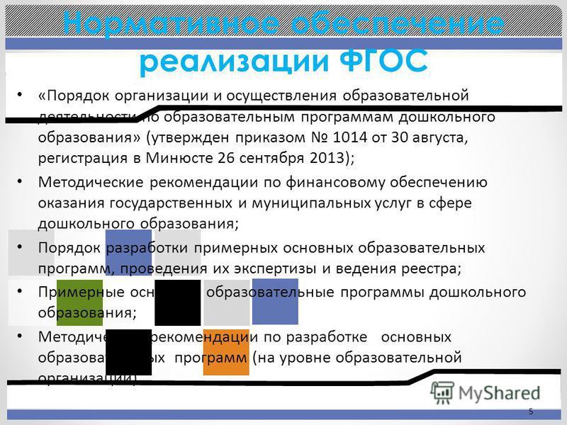 Нормативное обеспечение реализации ФГОС 5 «Порядок организации и осуществления образовательной деятельности по образовательным программам дошкольного образования» (утвержден приказом 1014 от 30 августа, регистрация в Минюсте 26 сентября 2013); Методи