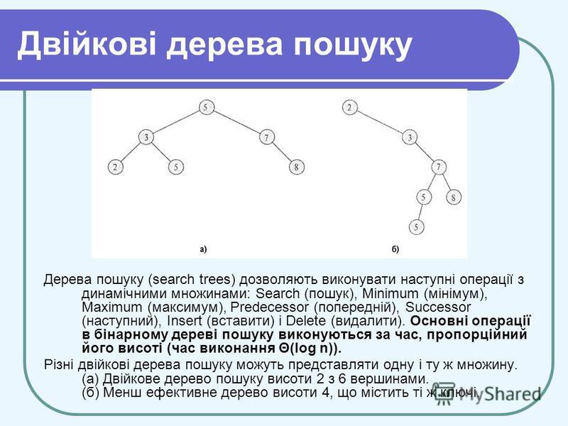 Двійкові дерева пошуку Дерева пошуку (search trees) дозволяють виконувати наступні операції з динамічними множинами: Search (пошук), Minimum (мінімум), Maximum (максимум), Predecessor (попередній), Successor (наступний), Insert (вставити) і Delete (в