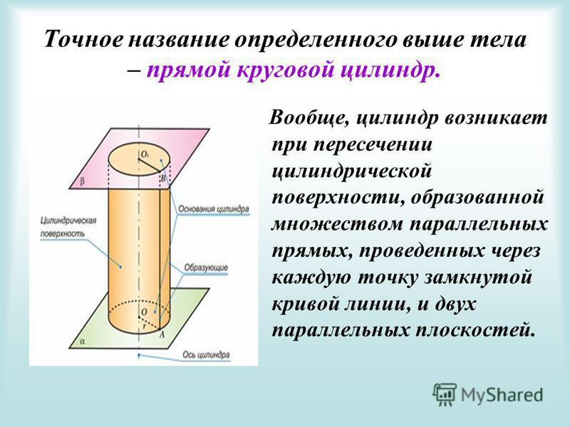 Точное название определенного выше тела – прямой круговой цилиндр. В ообще, цилиндр возникает при пересечении цилиндрической поверхности, образованной множеством параллельных прямых, проведенных через каждую точку замкнутой кривой линии, и двух парал