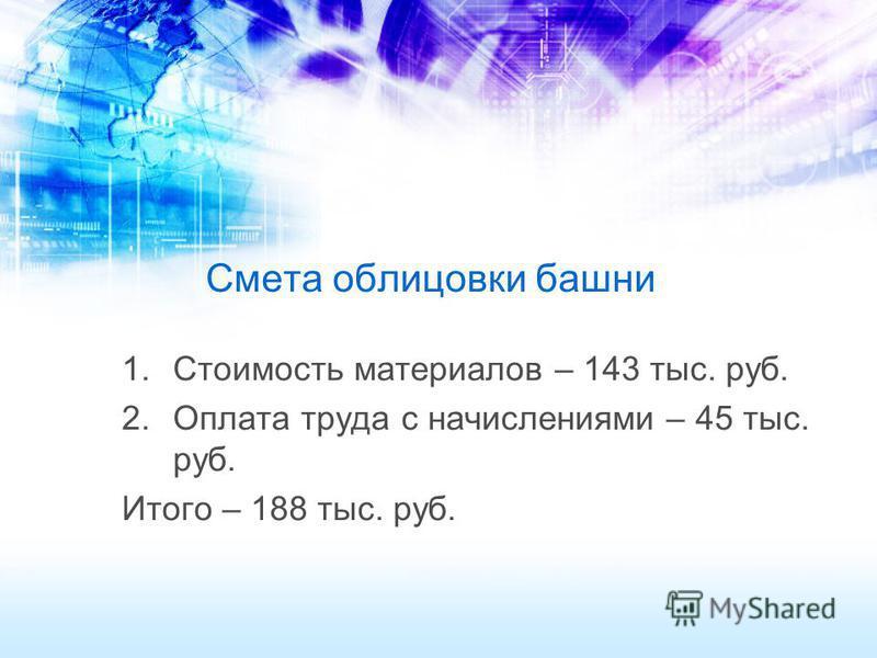 Смета облицовки башни 1. Стоимость материалов – 143 тыс. руб. 2. Оплата труда с начислениями – 45 тыс. руб. Итого – 188 тыс. руб.