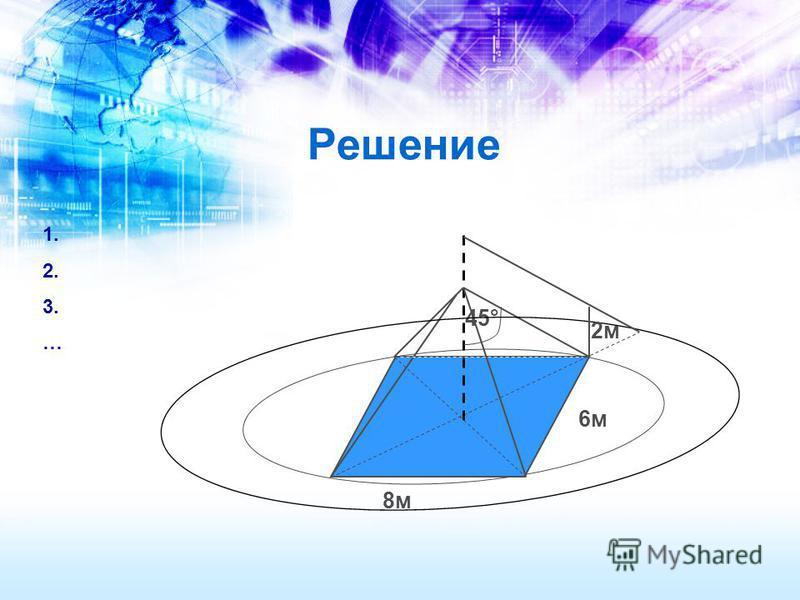 6 м 8 м 45° 2 м Решение 1. 2. 3. …