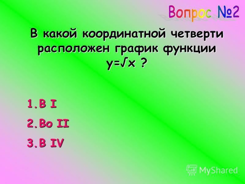 В какой координатной четверти расположен график функции y=x ? 1. В I 2. Во II 3. В IV