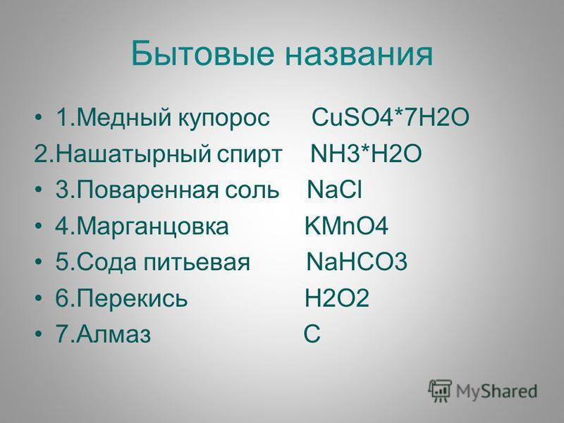 Бытовые названия 1. Медный купорос CuSO4*7H2O 2. Нашатырный спирт NH3*H2O 3. Поваренная соль NaCl 4. Марганцовка KMnO4 5. Сода питьевая NaHCO3 6. Перекись H2O2 7. Алмаз C
