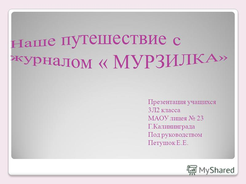 Презентация учащихся 3Л2 класса МАОУ лицея 23 Г.Калининграда Под руководством Петушок Е.Е.