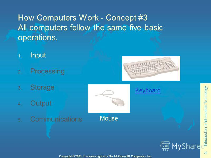 Introduction to Information Technology 20 Copyright © 2005. Exclusive rights by The McGraw-Hill Companies, Inc. How Computers Work - Concept #3 All computers follow the same five basic operations. 1. Input 2. Processing 3. Storage 4. Output 5. Commun