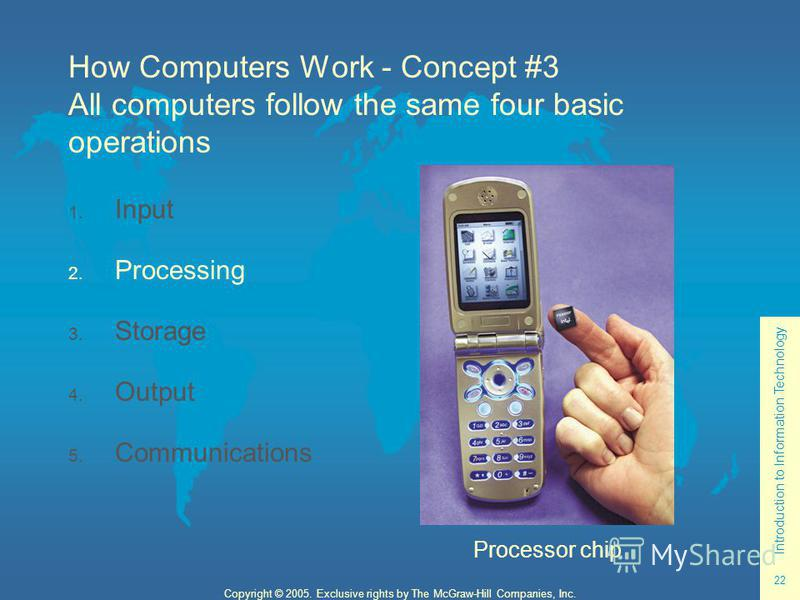 Introduction to Information Technology 22 Copyright © 2005. Exclusive rights by The McGraw-Hill Companies, Inc. How Computers Work - Concept #3 All computers follow the same four basic operations 1. Input 2. Processing 3. Storage 4. Output 5. Communi