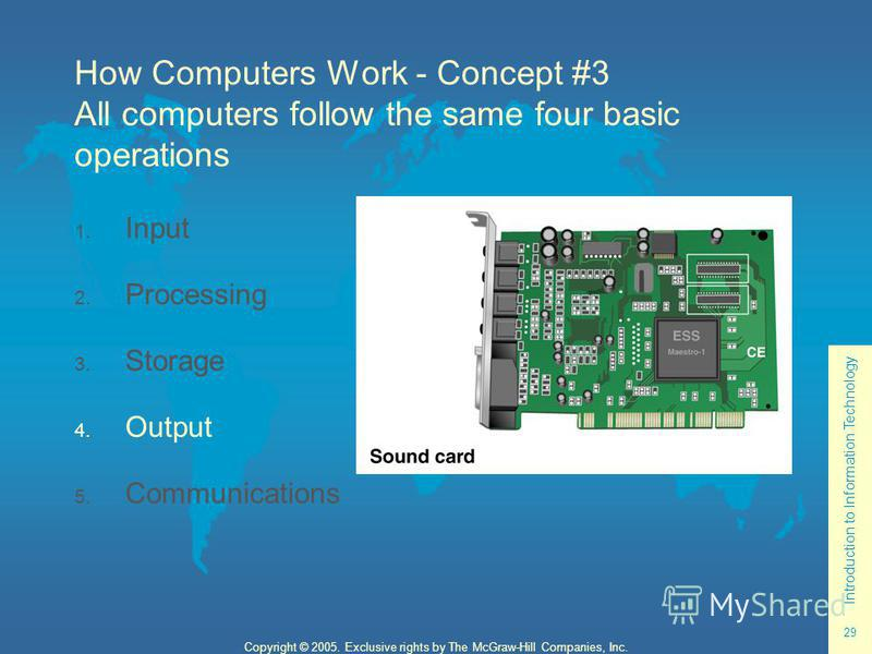 Introduction to Information Technology 29 Copyright © 2005. Exclusive rights by The McGraw-Hill Companies, Inc. How Computers Work - Concept #3 All computers follow the same four basic operations 1. Input 2. Processing 3. Storage 4. Output 5. Communi