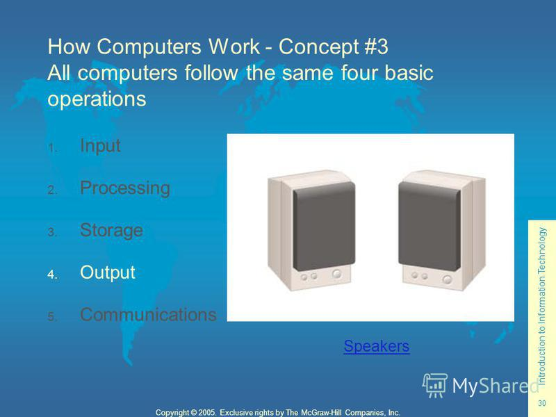 Introduction to Information Technology 30 Copyright © 2005. Exclusive rights by The McGraw-Hill Companies, Inc. How Computers Work - Concept #3 All computers follow the same four basic operations 1. Input 2. Processing 3. Storage 4. Output 5. Communi