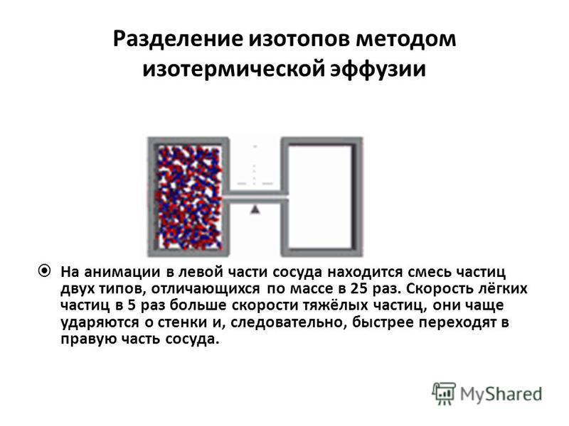 Разделение изотопов методом изотермической эффузии На анимации в левой части сосуда находится смесь частиц двух типов, отличающихся по массе в 25 раз. Скорость лёгких частиц в 5 раз больше скорости тяжёлых частиц, они чаще ударяются о стенки и, следо
