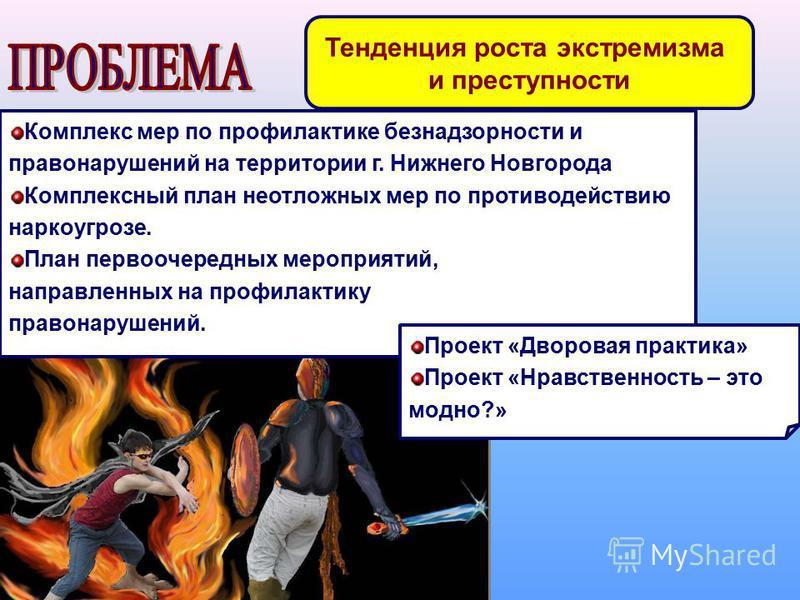 Тенденция роста экстремизма и преступности Комплекс мер по профилактике безнадзорности и правонарушений на территории г. Нижнего Новгорода Комплексный план неотложных мер по противодействию наркоугрозе. План первоочередных мероприятий, направленных н