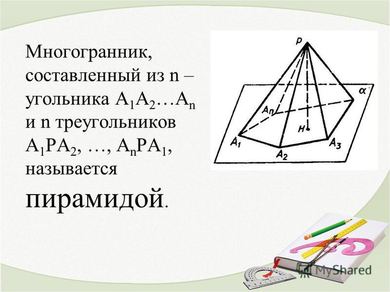 Многогранник, составленный из n – угольника А 1 А 2 …А n и n треугольников А 1 РА 2, …, А n РА 1, называется пирамидой.
