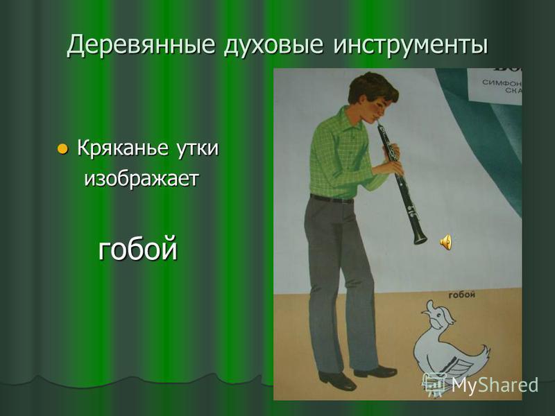 Деревянные духовые инструменты Кряканье утки Кряканье утки изображает изображает гобой