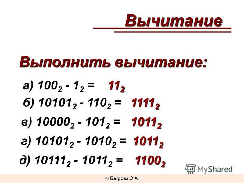 а) 100 2 - 1 2 = б) 10101 2 - 110 2 = в) 10000 2 - 101 2 = г) 10101 2 - 1010 2 = д) 10111 2 - 1011 2 = 11 2 1111 2 1011 2 1100 2 Вычитание Выполнить вычитание: Багрова О.А.