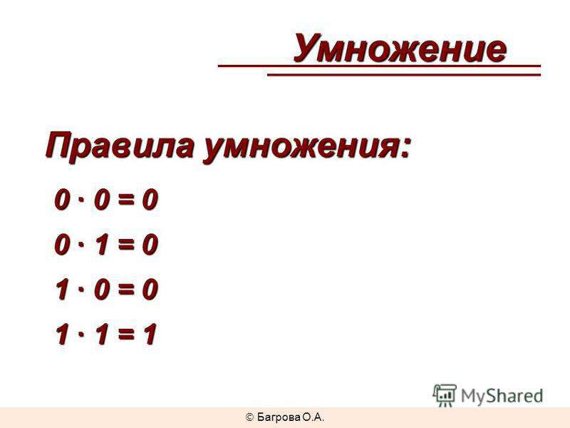 Умножение Правила умножения: 0 · 0 = 0 0 · 1 = 0 1 · 0 = 0 1 · 1 = 1 Багрова О.А.