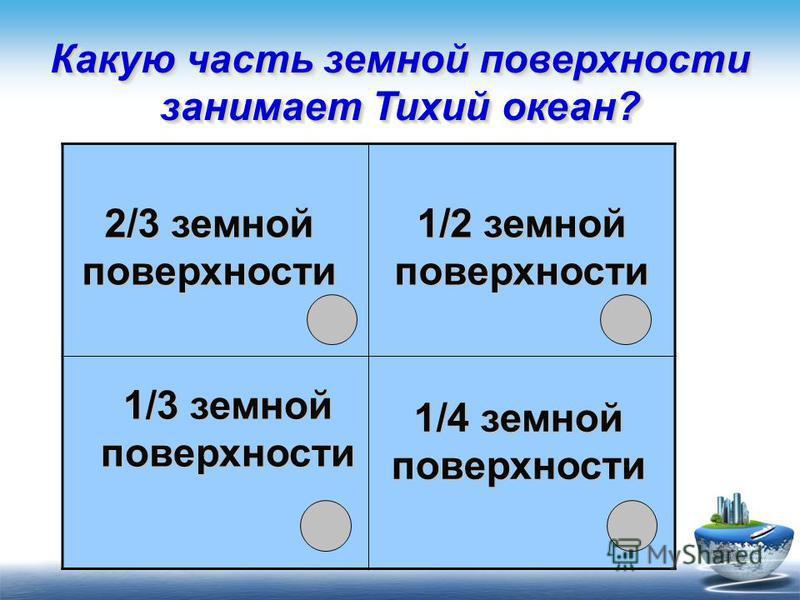Какую часть земной поверхности занимает Тихий океан? 1/3 земной поверхности 1/2 земной поверхности 2/3 земной поверхности 1/4 земной поверхности