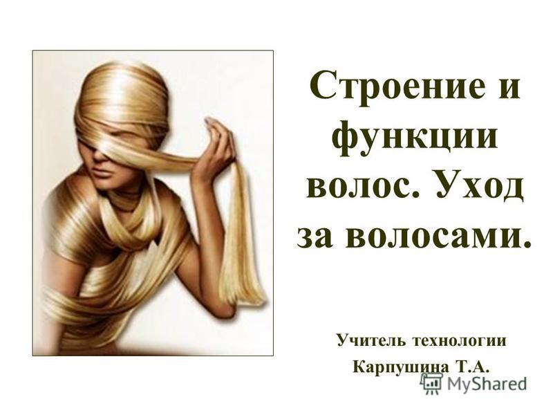 Строение и функции волос. Уход за волосами. Учитель технологии Карпушина Т.А.