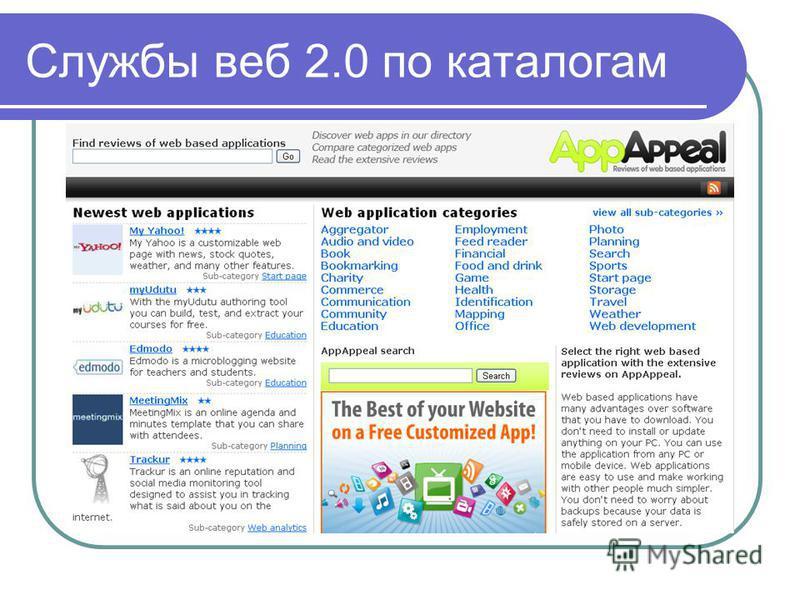 Службы веб 2.0 по каталогам