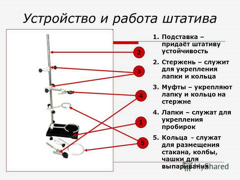 Устройство и работа штатива 2 5 1 4 3 1. Подставка – придаёт штативу устойчивость 2. Стержень – служит для укрепления лапки и кольца 3. Муфты – укрепляют лапку и кольцо на стержне 4. Лапки – служат для укрепления пробирок 5. Кольца - служат для разме