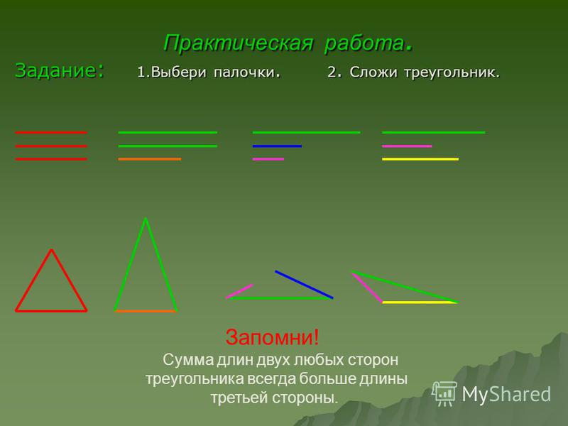 Практическая работа. Задание: 1. Выбери палочки. 2 2. Сложи треугольник. Запомни! Сумма длин двух любых сторон треугольника всегда больше длины третьей стороны.