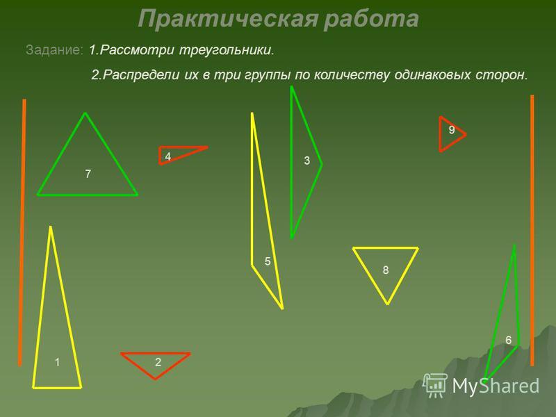 4 5 6 12 3 7 8 9 Практическая работа Задание: 1. Рассмотри треугольники. 2. Распредели их в три группы по количеству одинаковых сторон.