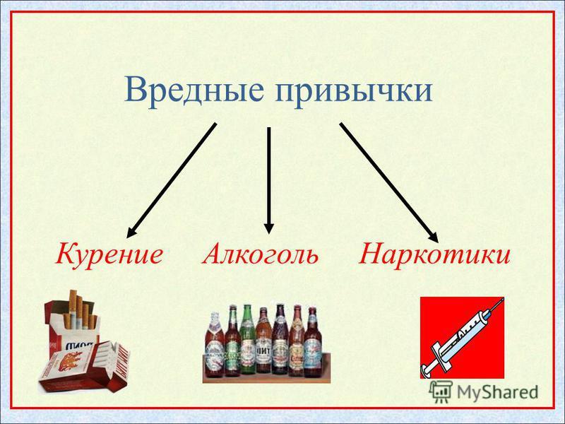 Вредные привычки Курение Алкоголь Наркотики