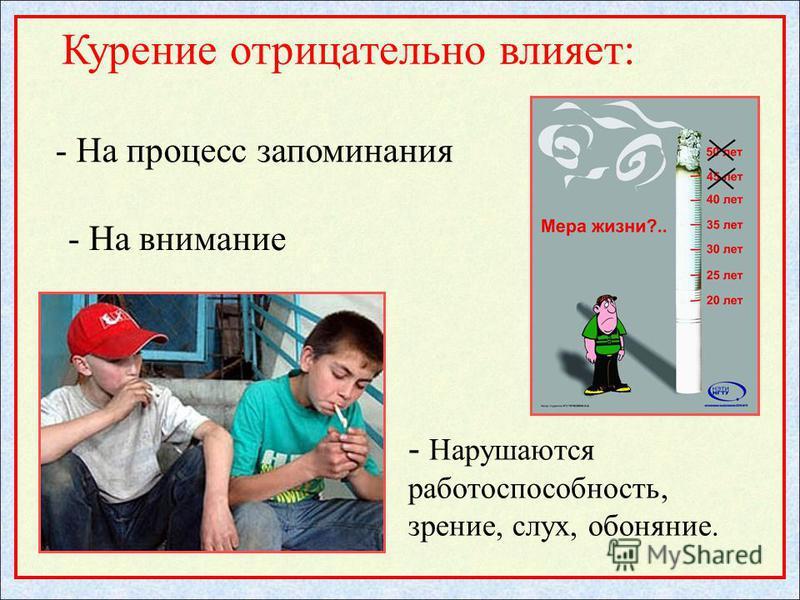 - Нарушаются работоспособность, зрение, слух, обоняние. Курение отрицательно влияет: - На процесс запоминания - На внимание