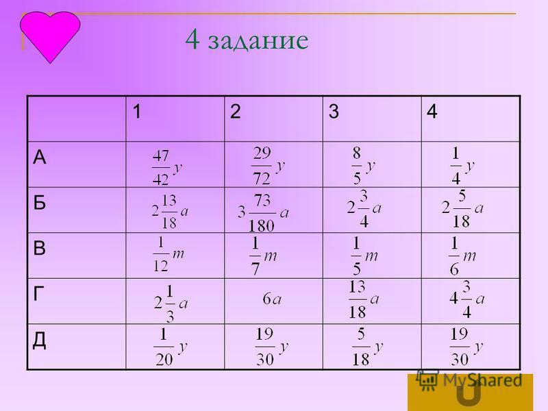 1234 А Б В Г Д 4 задание