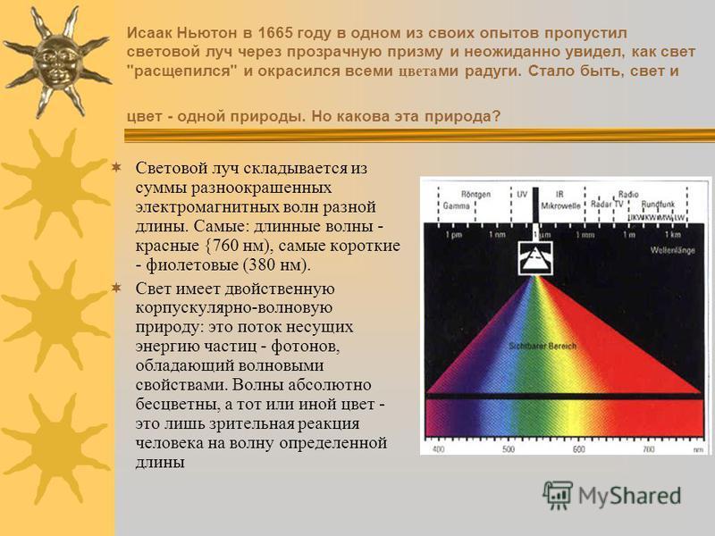 Исаак Ньютон в 1665 году в одном из своих опытов пропустил световой луч через прозрачную призму и неожиданно увидел, как свет