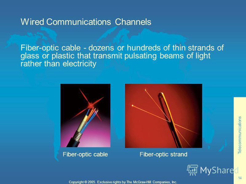 Telecommunications 14 Copyright © 2005. Exclusive rights by The McGraw-Hill Companies, Inc. Wired Communications Channels Fiber-optic cable - dozens or hundreds of thin strands of glass or plastic that transmit pulsating beams of light rather than el