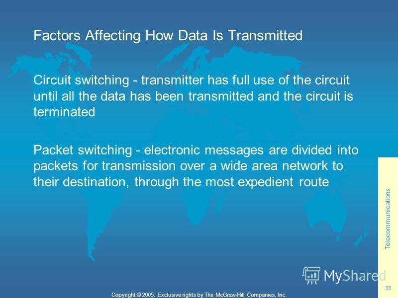 Telecommunications 33 Copyright © 2005. Exclusive rights by The McGraw-Hill Companies, Inc. Factors Affecting How Data Is Transmitted Circuit switching - transmitter has full use of the circuit until all the data has been transmitted and the circuit