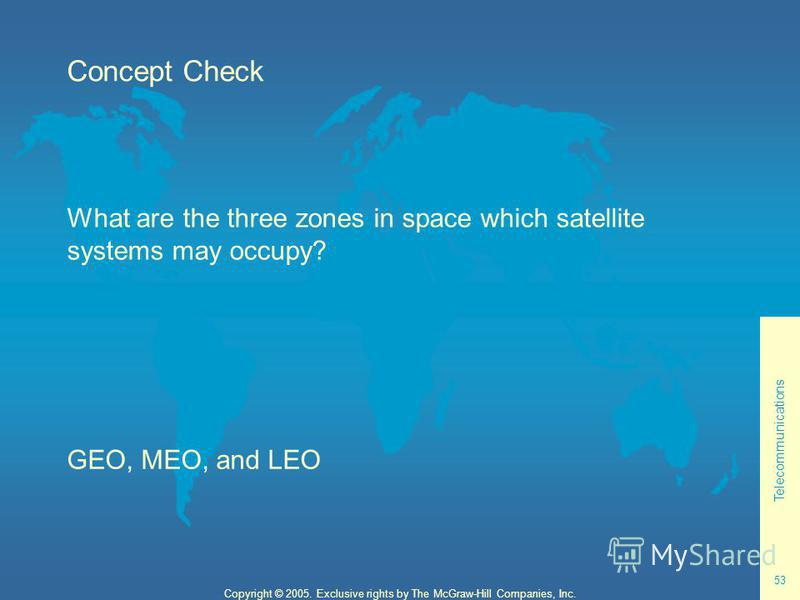 Telecommunications 53 Copyright © 2005. Exclusive rights by The McGraw-Hill Companies, Inc. Concept Check What are the three zones in space which satellite systems may occupy? GEO, MEO, and LEO