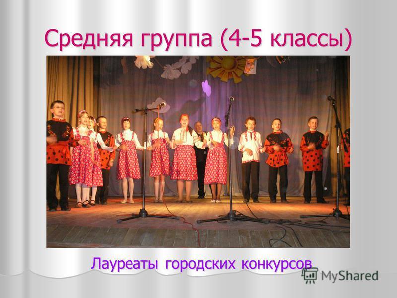 Средняя группа (4-5 классы) Лауреаты городских конкурсов