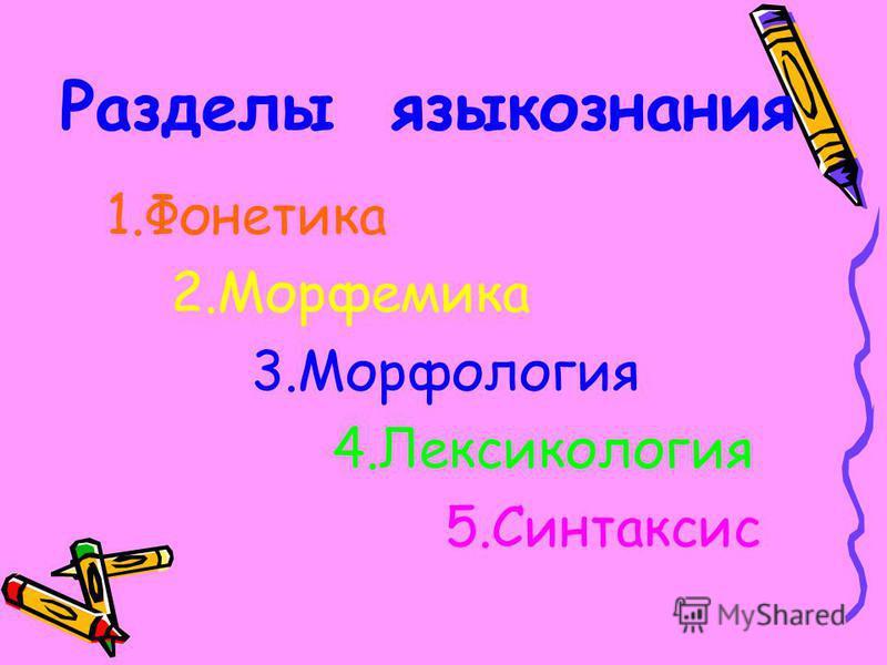 Разделы языкознания 1. Фонетика 2. Морфемика 3. Морфология 4. Лексикология 5.Синтаксис
