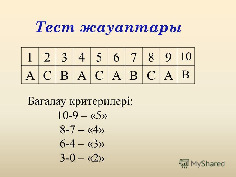 Тест жауаптары Бағалау критерилері: 10-9 – «5» 8-7 – «4» 6-4 – «3» 3-0 – «2» 123456789 10 АСВАСАВСА В