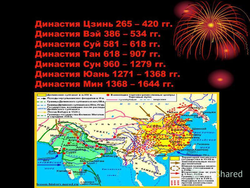 Династия Цзинь 265 – 420 гг. Династия Вэй 386 – 534 гг. Династия Суй 581 – 618 гг. Династия Тан 618 – 907 гг. Династия Сун 960 – 1279 гг. Династия Юань 1271 – 1368 гг. Династия Мин 1368 – 1644 гг.