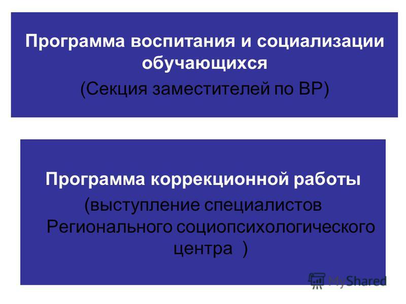 Программа воспитания и социализации обучающихся (Секция заместителей по ВР) Программа коррекционной работы (выступление специалистов Регионального социопсихологического центра )