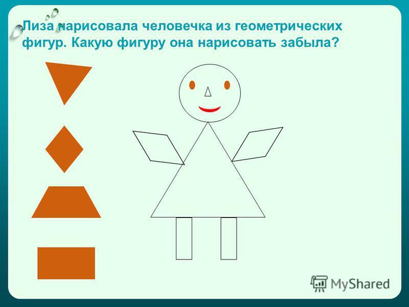 Лиза нарисовала человечка из геометрических фигур. Какую фигуру она нарисовать забыла?