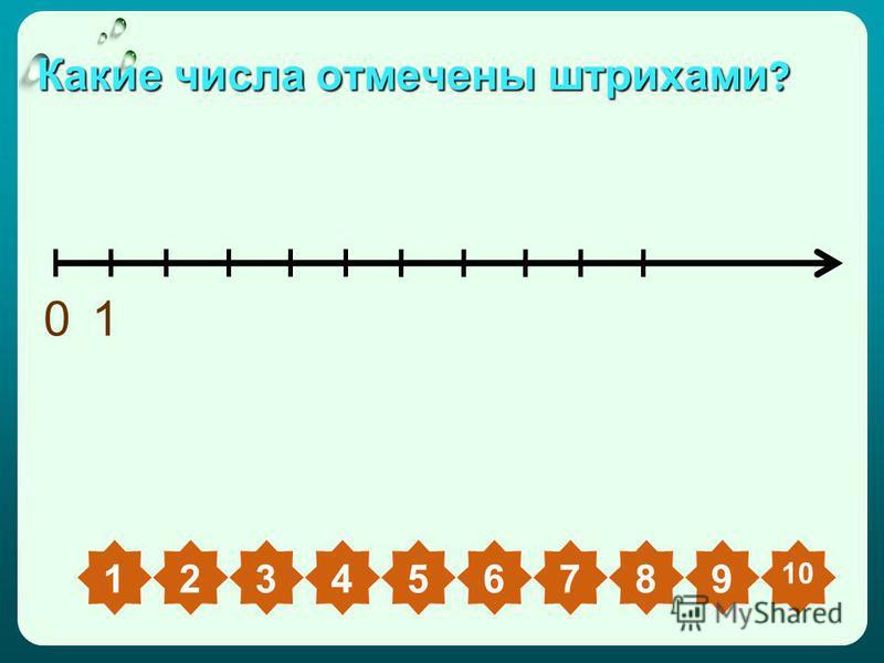 Какие числа отмечены штрихами ? 01 23456789 10 1