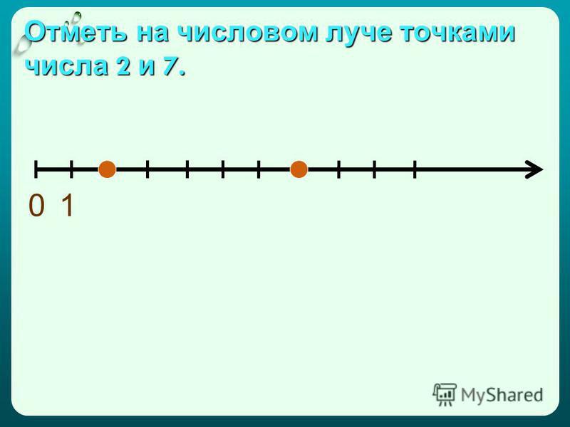 Отметь на числовом луче точками числа 2 и 7. 01