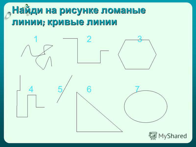 Найди на рисунке ломаные линии ; кривые линии 1 2 3 4 5 6 7