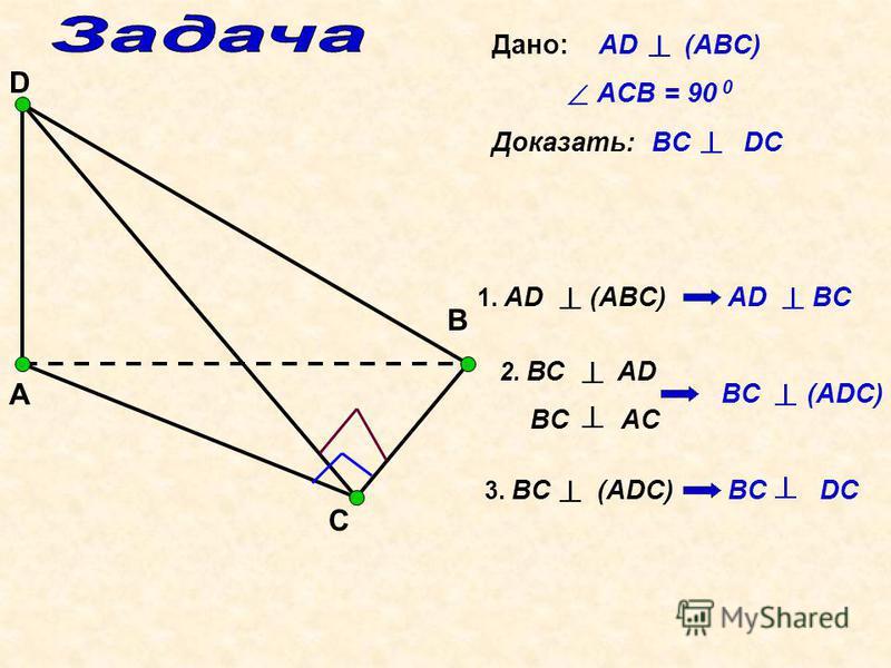 А С В D Дано: AD (ABC) ACB = 90 0 Доказать: BC DC 1. AD (ABC) AD BC 2. ВС AD BC AC BC (ADC) 3. BC (ADC) BC DC