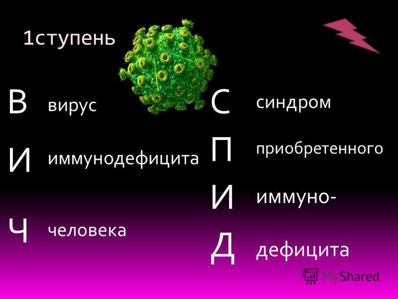 1 ступень ВИЧВИЧ СПИДСПИД вирус иммунодефицита человека синдром приобретенного иммунодефицита