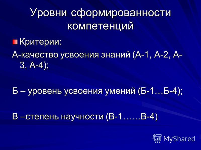 Уровни сформированности компетенций Критерии: А-качество усвоения знаний (А-1, А-2, А- 3, А-4); Б – уровень усвоения умений (Б-1…Б-4); В –степень научности (В-1……В-4)