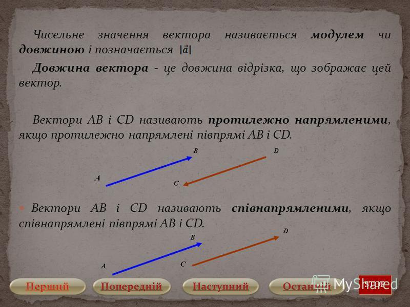 Чисельне значення вектора називається модулем чи довжиною і позначається Довжина вектора - це довжина відрізка, що зображає цей вектор. Вектори AB і CD називають протилежно напрямленими, якщо протилежно напрямлені півпрямі AB і CD. Вектори AB і CD на