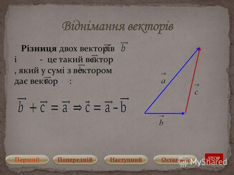 Різниця двох векторів і - це такий вектор, який у сумі з вектором дає вектор : STOP