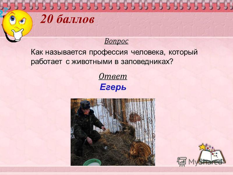 20 баллов Вопрос Как называется профессия человека, который работает с животными в заповедниках? Ответ Егерь