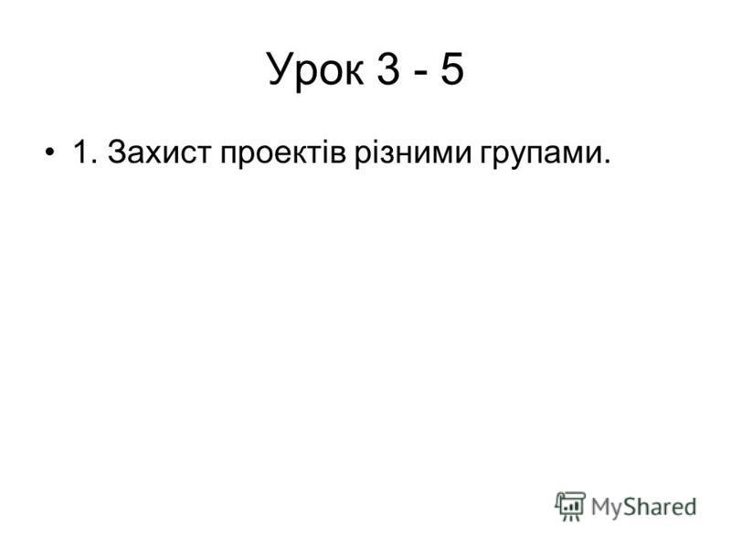 Урок 3 - 5 1. Захист проектів різними групами.