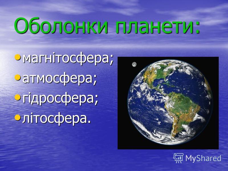 Оболонки планети: магнітосфера; атмосфера; гідросфера; літосфера.